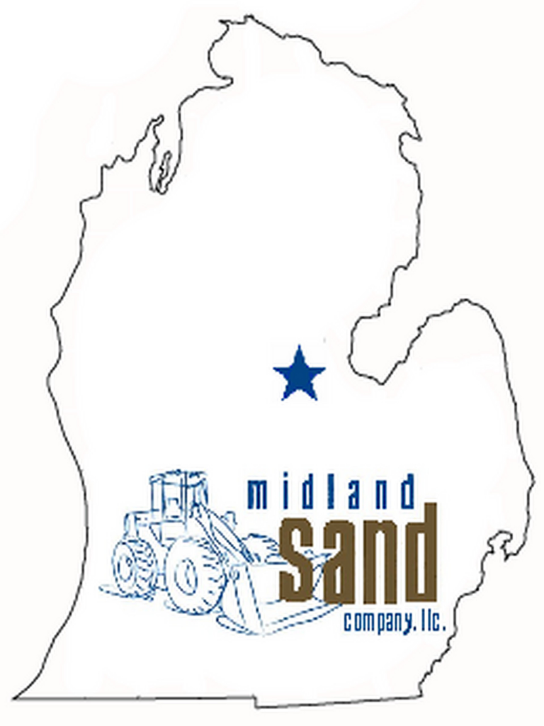 Midland Sand logo in the outline of the state of Michigan